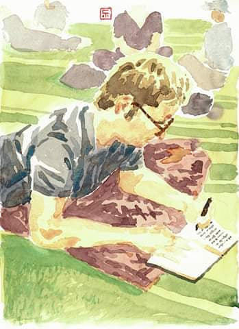 Vincent Lostanlen watercolor portrait
